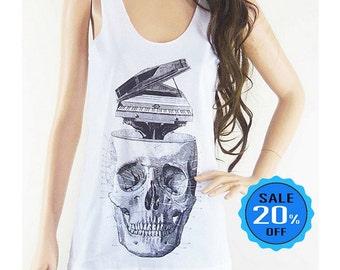 size S - Skull Piano shirt skull shirt women graphic tee hipster top cool tee shirt for teen cute top teen tank party shirt screen print