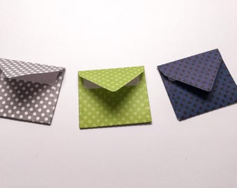 Tiny envelopes - inserts - mini envelopes - miniature envelopes - Toothfairy envelopes- scrapbooking - polka dot - lime green - navy blue