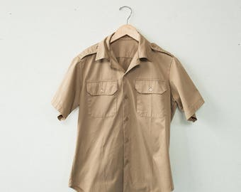 Vintage 70's Work Button Down Safari Mens Medium