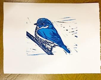 "Bluebird of Happiness - Original Linocut Print 5x7"""