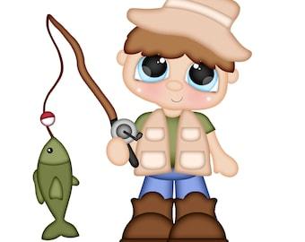 Scrapbook, Scrapbooking, Die Cut, Fishing die cut, Children die cut, Scrapbook embellishment, embellishment, Card making,