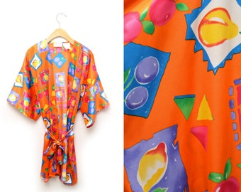 80s Fruit Patterned Robe Open Front Tie Waist Womens Large-XL
