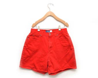 "90s Red Denim High Waisted Jean Shorts Liz Claiborne Women's 12 30"" Waist"