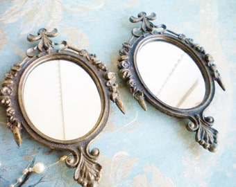 Vintage Metal Mirrors Set of Two/Metal Wall Mirror Made In Italy/Home Decor Mirror/Bathroom Mirrors/Shabby Chic Decor/Wedding Decor