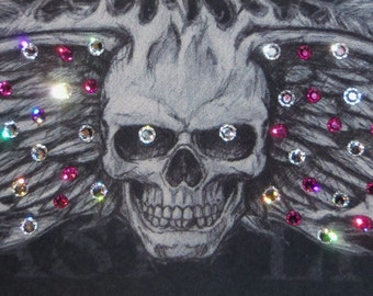 Wing Skull Bandana with Fuscia Pink and clear Crystals