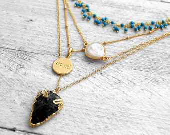 BLACK ARROWHEAD necklace with arrowdiv black obsidian   gold