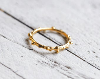 DOTS ring with beads | gold