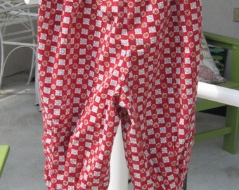 Size 9-12 mo. red patterned baby pants made from long sleeves