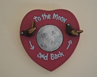 To The Moon ... OOAK folk art bird heart assemblage