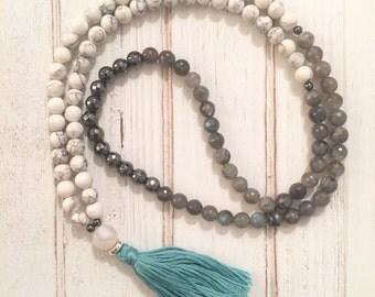 Daydream mala beads; 108 mala beads; mala necklace; white and gray mala beads
