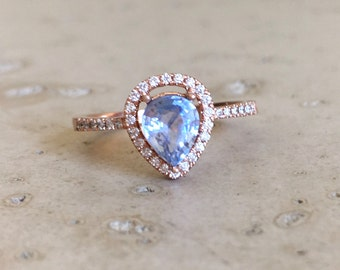Rose Gold Blue Sapphire Engagement Ring- Halo Pear Shape Sapphire Ring- Blue Sapphire Promise Ring- Alternative Engagement Ring with Diamond