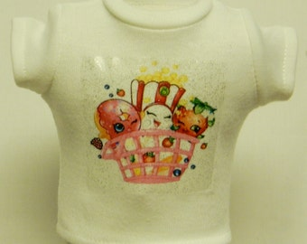 Shopkins Theme Silver Glitter Transfer T-Shirt For 16 or 18 Inch Dolls Like The American Girl Or Bitty Baby