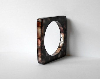 Vintage Mother of Pearl Dark Brown Square Bangle Bracelet tiled mosaic MOP