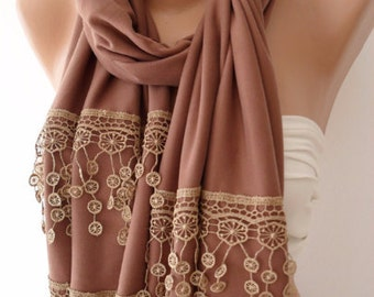 Light Brown Rectangular Scarf Christmas Gift Holiday Gift Scarf with Lace Edge Winter Women Fashion Accessories Christmas Gift For Her