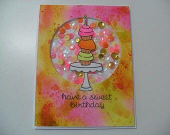 Birthday Card - Cupcake Shaker Card - Watercolor Card - Have a Sweet Birthday - BLANK Inside