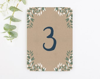 Botanical Rustic Kraft Table Number