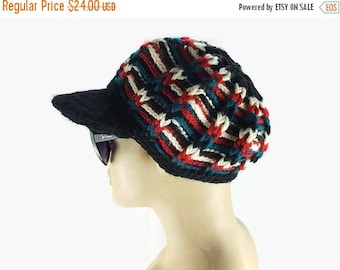 Gift For Mom Womens Newsboy Cap , Multicolor Newsboy beanie hat, Womens Knit Hat, Gift Ideas  For Her