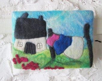 felt wall art, quirky house, textile art