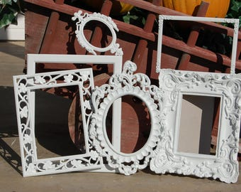 Shabby Chic Picture Frame Set / Rustic Wedding Gallery Frame Collage / Distressed Vintage Ornate Wall Decor