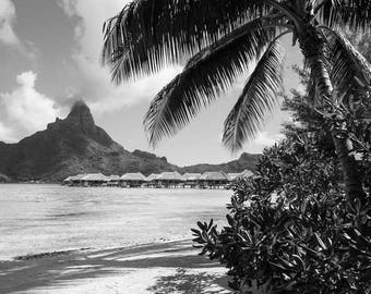 Bora Bora Photography - Tahiti - French Polynesia - Mt Otemanu - Beach - Overwater Bungalow - Fine Art Photography Print - Home Decor