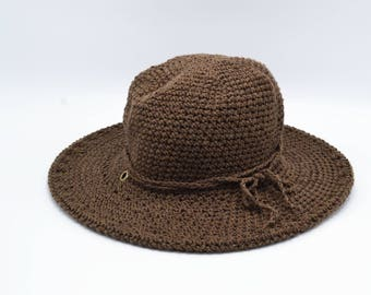 Beach Hat, Sun Hat, Womens Summer Hats, Cotton Hat, Derby Hat, Garden Hat, Farm Hat, Camping Gear, Outerwear, Womens Hats, Brown Hat