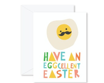 GREETING CARD | Have An Eggcellent Easter : Breakfast Eggs Modern Illustration Retro Art Print