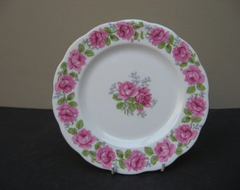 "Vtg Queen Ann Bell China ""LADY ALEXANDER ROSE"" Pink Roses Salad Plate"
