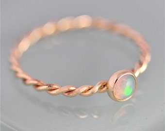 Opal Ring Gold Twist 14k SOLID Gold Opal Twisted  Rope Infinity Band Thin Stacking Ring Spacer Recycled Gold Yellow Gold