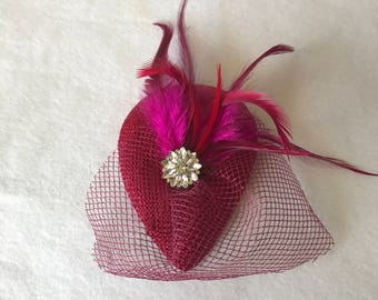 Cerise Hot Pink mini teardrop feather Fascinator hat with birdcage veil for weddings, tea party, bridesmaid feather hair accessories