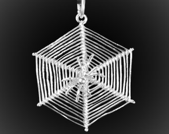 Pendant spider on its Web