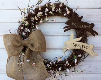Welcome Spring Grapevine Spring Easter Bunny Wreath--Spring Cherry Blossom Wreath--Easter Front Door Wreath--Burlap Wreath