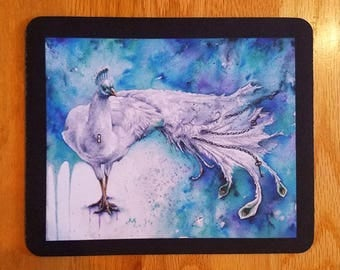 SALE! Mousepad - Purity Unchained, White Peacock, Steampunk Watercolour Bird