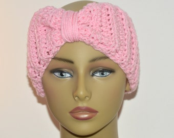 Pink ear warmer, Crochet turban, Hair accessory, Fall accessory, Pink headwrap, Gift for her, Teens ear warmer, Gift for teen, Ready to ship