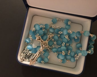 Vintage Rosary Cats Eye Made in Italy