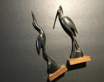 Vintage Carved Horn Birds Sculpture Set of 2