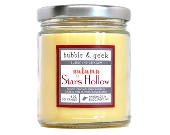 Autumn in Stars Hollow scented soy candle - 8 oz. jar - leaves, coffee, pancakes