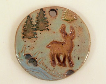 Large Glazed Pottery Pet Cremains Motif Pendant or Ornament - Custom Memorial Pet Cremation Keepsake -  DEER by the RIVER