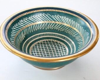 Vintage Waylande Gregory Gold Leaf Hand Painted Bowl Teal Blue Green Art Designer