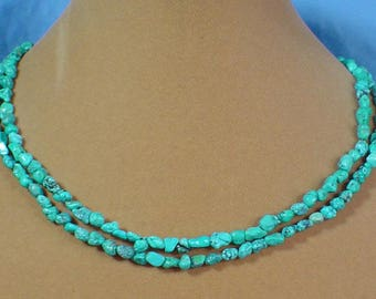 """17"""" Double Strand of Turquoise Chips Necklace - N467"""