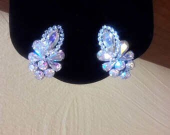 Vintage Albert Weiss Earrings - Aurora Borealis - Crystal Rhinestone - 1940's - Hollywood Regency - Glam - Rhodium Finish