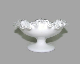 Fenton Silver Crest Pedestal Compote, Milk Glass Footed Bowl, Silver Crest Double Crimped Candy Dish