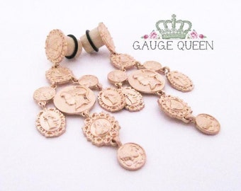 "Gold Coin Baroque Dangle Plugs / Gauges. 2g / 6.5mm, 0g / 8mm, 00g / 10mm, 1/2"" / 12.5mm, 9/16"" / 14mm by GaugeQueenPlugs"
