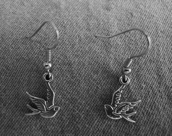 Beautiful pair of Silver Earrings with Small Bird and Hypoallergenic Surgical Steel Ear Wires