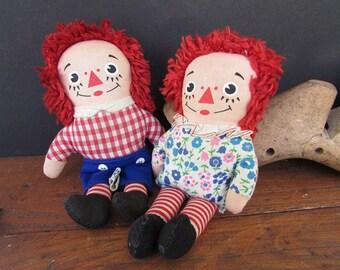 Raggedy Ann and Andy Vintage Knickerbocker Soft Dolls