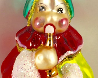 """Vintage Rare Christopher Radko """"Clown Playing Flute"""" Ornament - mouth-blown, hand-painted mercury glass"""
