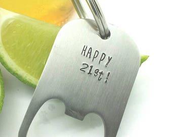 21st Birthday Gift, 21st Birthday Gift for Him, 21st Birthday Gift for Her, Personalized  Bottle Opener