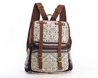 Antique Backpack Purse Vintage Handmade Tribal Needlework Hippie Boho Gypsy Style