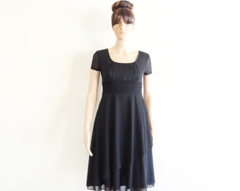 Black Dress. Dress With Sleeves. Bridesmaid Dress. Knee Length Dress.