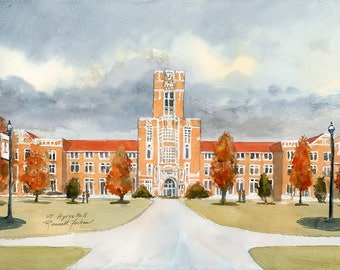 UT Ayres Hall original watercolor, Knoxville TN, University of Tennessee campus, small landscape painting, College Art, TN Volunteers Grads