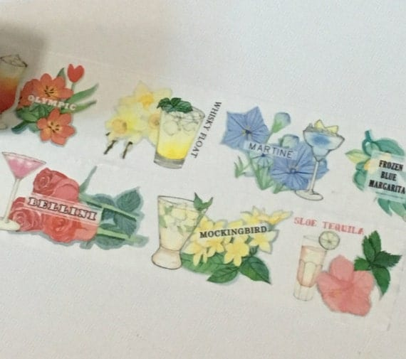 1 Roll of Limited Edition Washi tape- Cocktail